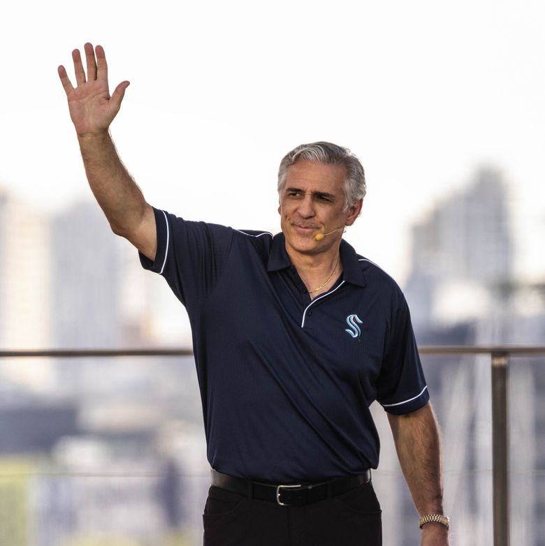 Kraken general manager Ron Francis is introduced to the crowd Wednesday.  The NHL's expansion draft for the Seattle Kraken was held Wednesday, July 21, 2021 at Gas Works Park in Seattle, WA. (Dean Rutz / The Seattle Times)