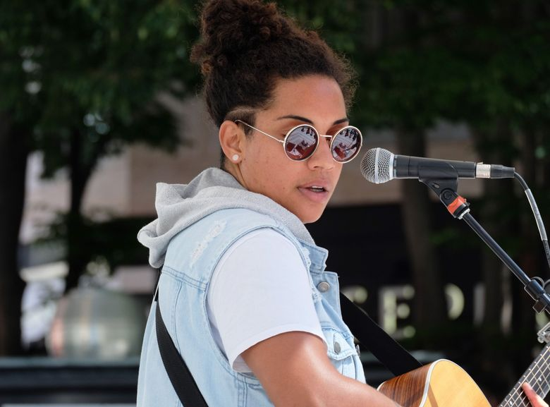 Whitney Mongé performs at a previous Downtown Summer Sounds concert in 2019. Downtown Summer Sounds, a 42-year Downtown Seattle Association tradition, began its annual summer concert series July 1 and continues through Sept. 30. (Courtesy of Downtown Seattle Association)