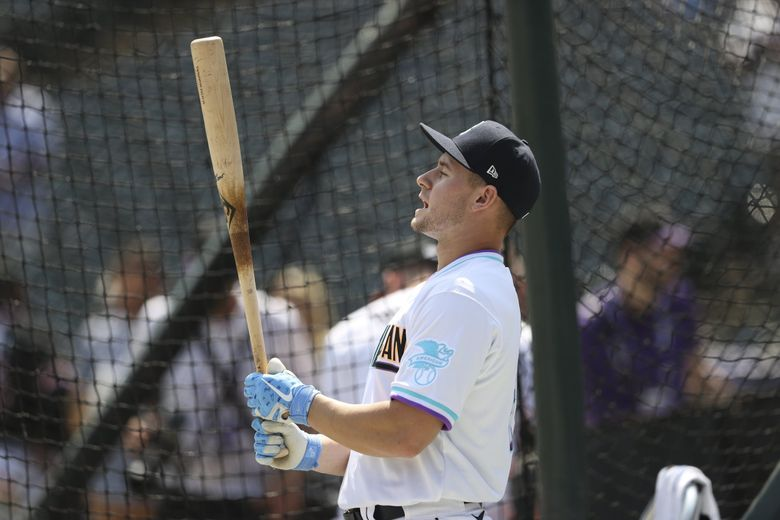 Jarred Kelenic gets ready for batting practice before the All-Star Futures Game on Sunday in Denver. (Gabe Christus / The Associated Press)