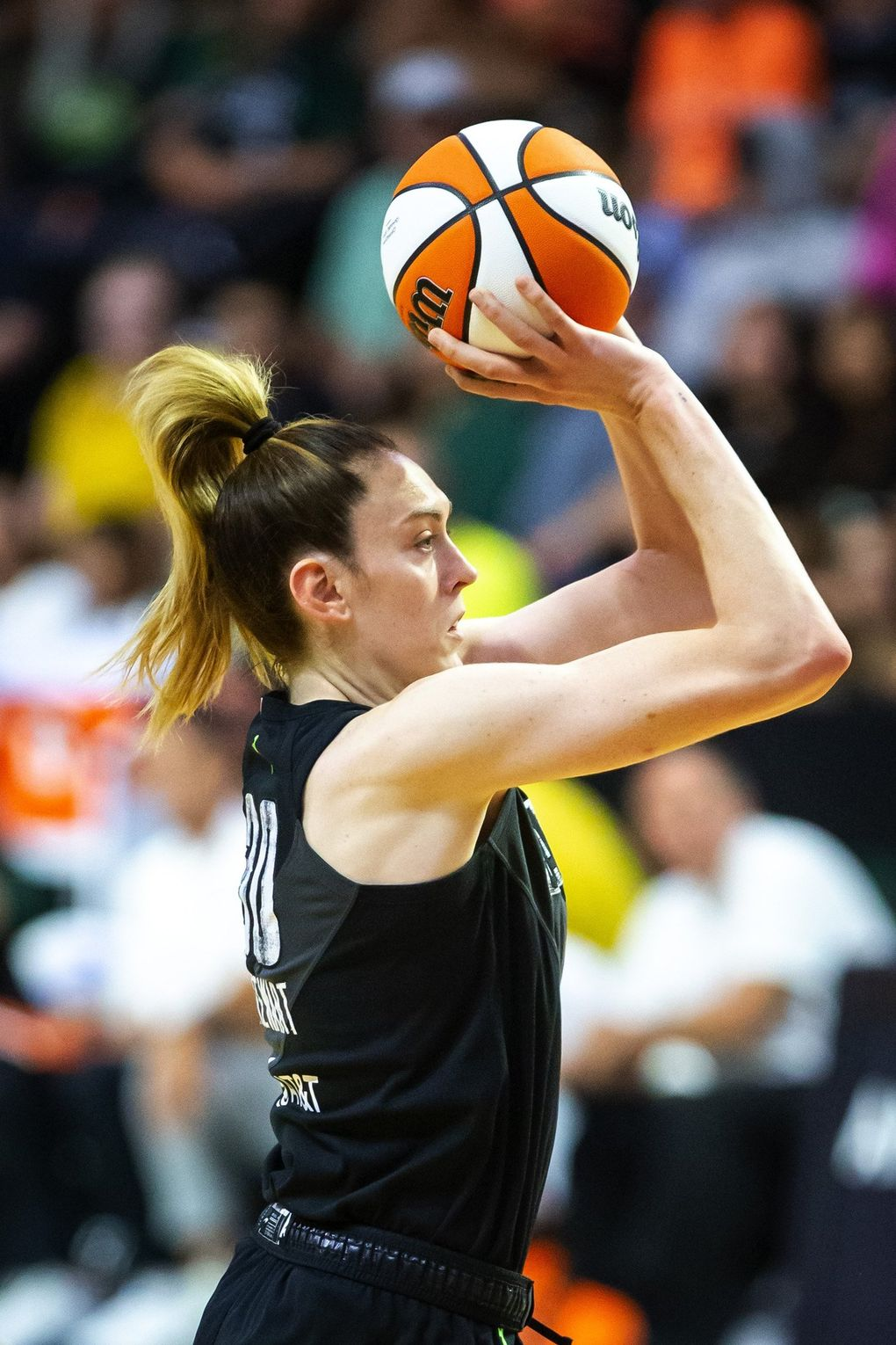 Storm forward Breanna Stewart hits a shot in the second half for two of her 13 points in the game as the Seattle Storm take on the Phoenix Mercury at the Angel of the Winds Arena in Everett Sunday July 11, 2021. (Bettina Hansen / The Seattle Times)