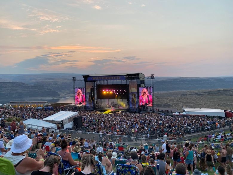 Country star Kelsea Ballerini performs at Watershed festival at the Gorge Amphitheatre in George, Grant County, on Friday. (Michael Rietmulder / The Seattle Times)