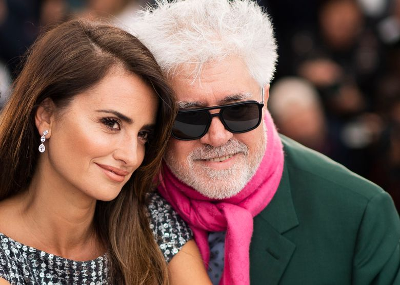 """FILE – Actress Penelope Cruz, left, and director Pedro Almodovar pose for photographers at the photo call for the film """"Pain and Glory"""" at the 72nd international film festival, Cannes, southern France, on May 18, 2019.  The Venice Film Festival is kicking off its 78th edition on Sept. 1, 2021, on the Lido with the premiere of Almodóvar's """"Madres Paralelas,"""" starring Cruz. (Photo by Arthur Mola/Invision/AP, File)"""