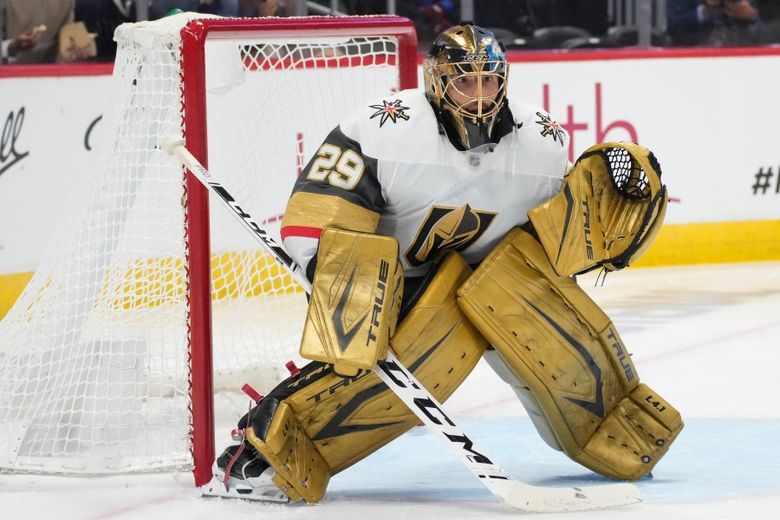 FILE – Vegas Golden Knights goaltender Marc-Andre Fleury (29) plays in the second period of Game 5 of an NHL hockey Stanley Cup second-round playoff series against the Colorado Avalanche in Denver, in this Tuesday, June 8, 2021, file photo. Reigning Vezina Trophy-winning goaltender Marc Andre Fleury has been traded from Vegas to Chicago and is contemplating his future, according to his agent. Allan Walsh tweeted Tuesday, July 27, 2021, that Fleury had still not heard from the Golden Knights about the deal.AP Photo/David Zalubowski, File)