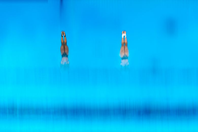 Mun Yen Leong and Pandelela of the Malaysia compete during the women's synchronised 10-meter platform final at the 2020 Summer Olympics, Monday, July 26, 2021, in Tokyo, Japan. (AP Photo/Morry Gash)
