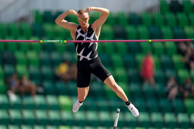 FILE – In this June 21, 2021, file photo, Sam Kendricks competes during the finals of the men's pole vault at the U.S. Olympic Track and Field Trials in Eugene, Ore. American world-champion pole vaulter Kendricks will miss the Olympics after testing positive for COVID-19. (AP Photo/Charlie Riedel, File)