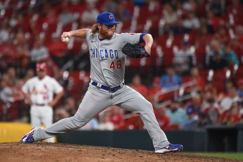 Chicago Cubs relief pitcher Craig Kimbrel throws during the ninth inning of the team's baseball game against the St. Louis Cardinals on Tuesday, July 20, 2021, in St. Louis. (AP Photo/Joe Puetz)