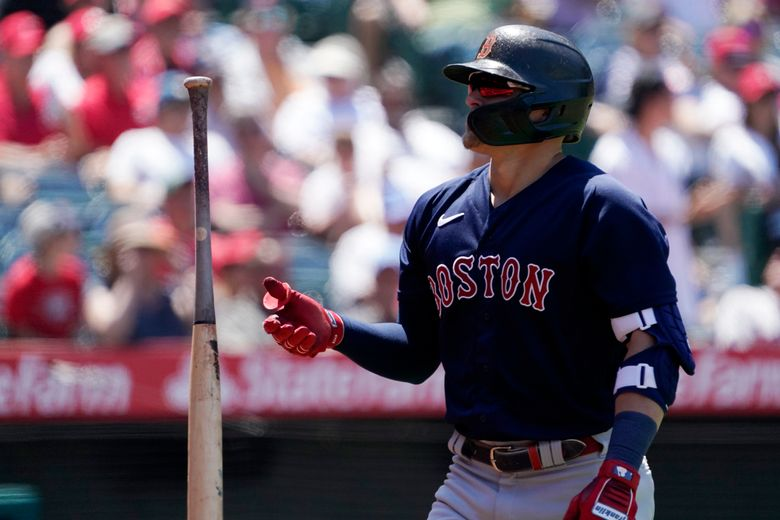 Boston Red Sox's Kiké Hernandez flips his bat after striking out during the fifth inning of a baseball game against the Los Angeles Angels Wednesday, July 7, 2021, in Anaheim, Calif. (AP Photo/Mark J. Terrill)