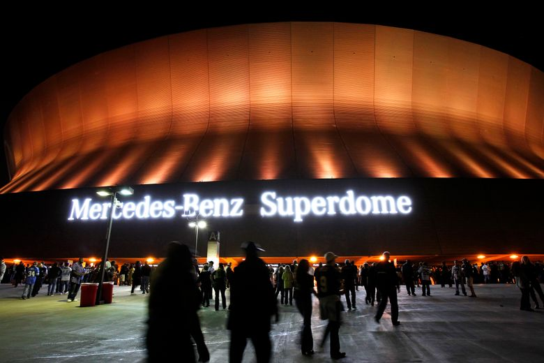 FILE – This Dec. 4, 2011, file photo shows an exterior view of the Mercedes-Benz Superdome before an NFL football game between the New Orleans Saints and the Detroit Lions in New Orleans. Louisiana lawmakers Thursday, July 22, 2021, decide whether to let the New Orleans Saints make a new naming rights deal for the Superdome, after Mercedes-Benz' contract for its moniker to be emblazoned on the stadium has expired.(AP Photo/Gerald Herbert, File)