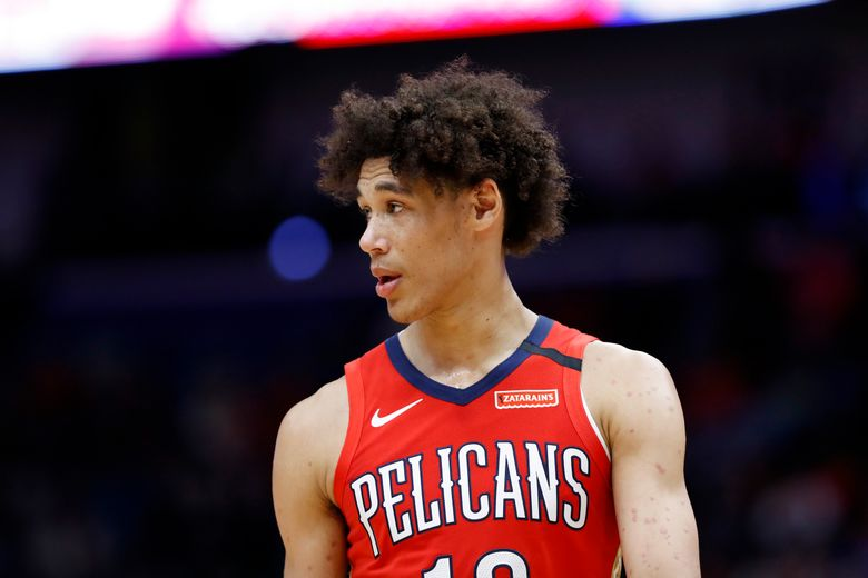 FILE – In this Jan. 6, 2020, file photo, New Orleans Pelicans center Jaxson Hayes looks on during an NBA basketball game in New Orleans. Hayes was arrested in Los Angeles after a struggle with officers who were responding to a report of a domestic dispute and had to use a Taser and other force before they could handcuff him, authorities said Thursday, July 29, 2021. (AP Photo/Tyler Kaufman, File)