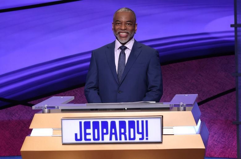 """LeVar Burton, on the set of """"Jeopardy!,"""" talks about his five back-to-back tapings that began airing Monday, July 26. (Carol Kaelson / Jeopardy Productions Inc.)"""