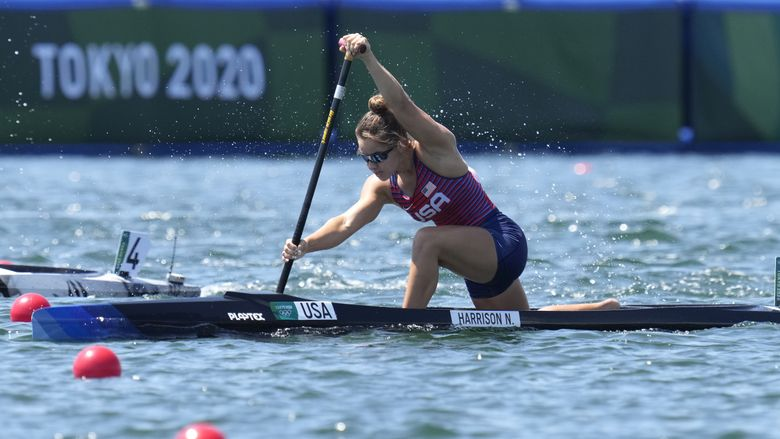 Nevin Harrison of the United States competes in the women's canoe single 200m heat at the 2020 Summer Olympics, Wednesday, Aug. 4, 2021, in Tokyo, Japan. (AP Photo/Kirsty Wigglesworth) NYOTK NYOTK (Kirsty Wigglesworth / The Associated Press)