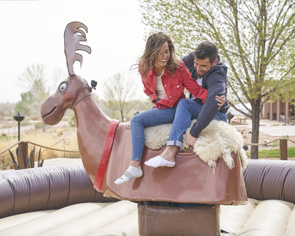 """COVID-19 restrictions prevented the traditional hometown visits on """"The Bachelorette,"""" so instead, the show brought the suitors' hometowns to Katie Thurston. Canadian Blake Moynes' date featured a mechanical moose. (Craig Sjodin / ABC)"""