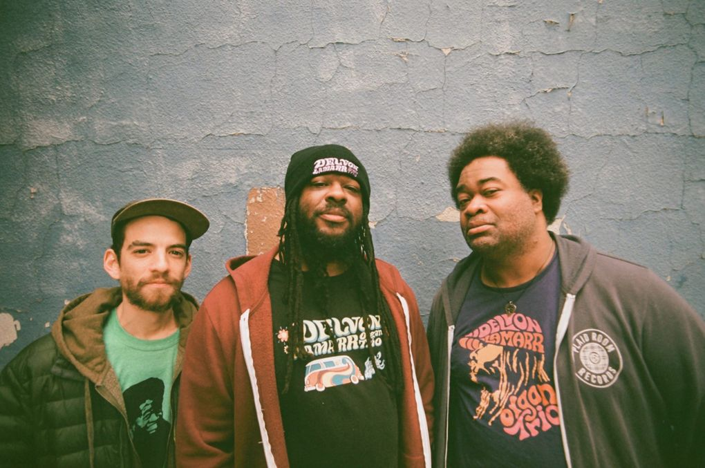 Delvon Lamarr Organ Trio, with (from left) Dan Weiss, Delvon Lamarr and Jimmy James.  (Francis A. Willey)