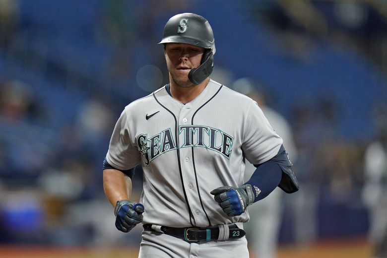 Seattle Mariners' Ty France scores after his solo home run off Tampa Bay Rays relief pitcher Chris Mazza during the seventh inning of a baseball game Monday, Aug. 2, 2021, in St. Petersburg, Fla. (Chris O'Meara / AP)