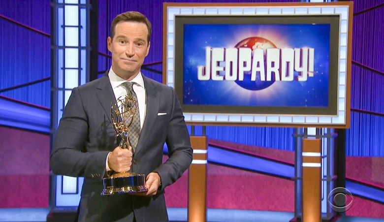 """In this video image provided by NATAS and the Daytime Emmys, executive producer Mike Richards accepts the award for outstanding game show for """"Jeopardy!"""" during the 48th Daytime Emmy Awards on Friday, June 25, 2021. (Daytime Emmys via AP)"""
