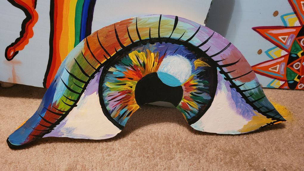 The mini-golf hole designed by Seattle artist Kimisha Turner features a giant, colorful eye, among other designs. (Courtesy of Kimisha Turner)