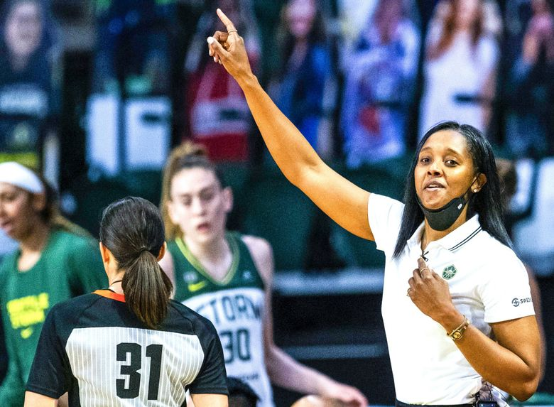 Noelle Quinn notched her first win as head coach of the Seattle Storm on June 1, 2021, against the Indiana Fever in Everett. (Dean Rutz / The Seattle Times)
