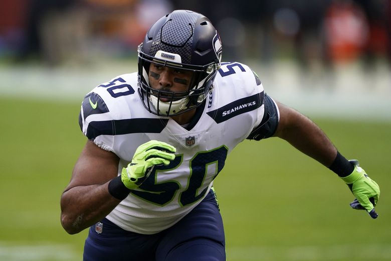 Seattle Seahawks outside linebacker K.J. Wright rushes the line of scrimmage during an NFL football game against the Washington Football Team, Sunday, Dec. 20, 2020, in Landover, Md. (AP Photo/Mark Tenally) OTK147 OTK147 (Mark Tenally / The Associated Press)