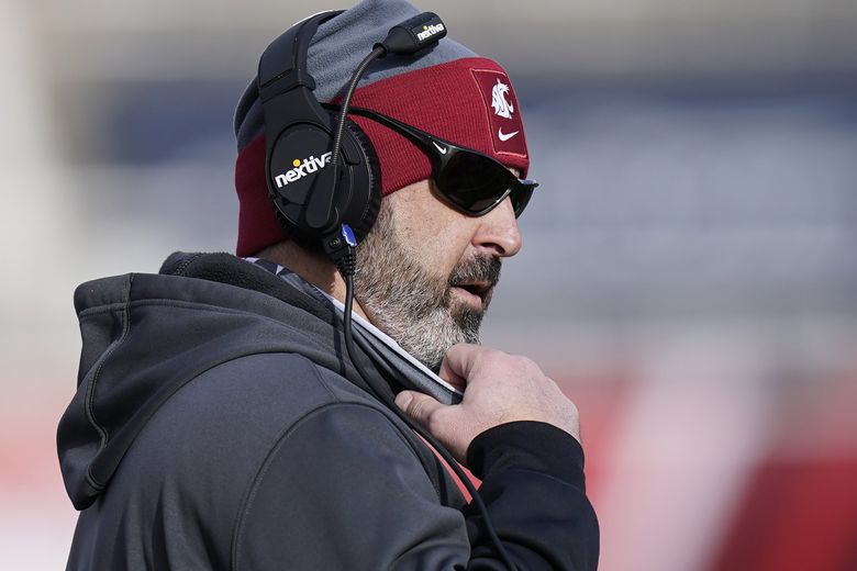 Washington State head coach Nick Rolovich looks on during the first half of an NCAA college football game against Utah in Salt Lake City, in this Saturday, Dec. 19, 2020. (Rick Bowmer / AP)