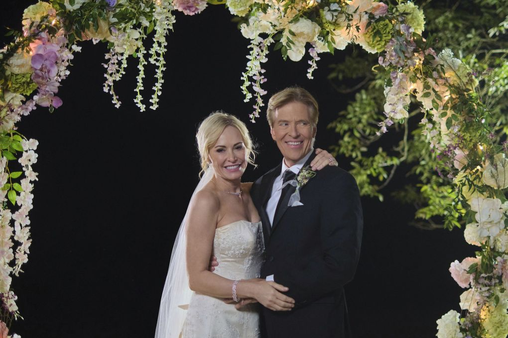 "Josie Bissett and Jack Wagner in Hallmark Channel's ""Sealed with a Kiss: Wedding March 6."" (David Astorga / Courtesy of Hallmark Channel)"