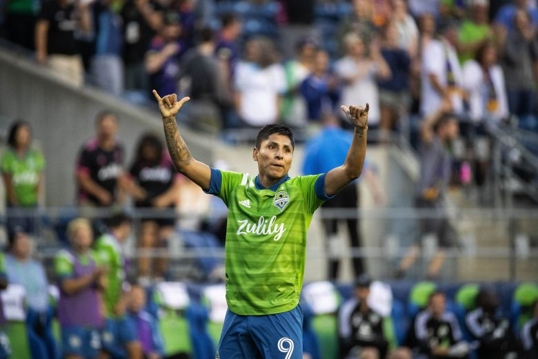 Raúl Ruidíaz celebrates scoring a penalty kick late in the second half against Real Salt Lake, June 23, 2021 in Seattle. Ruidíaz played in the Mexican soccer league Liga MX for Club Atlético Morelia, and is most famous for saving the team from relegation in 2017. (Dean Rutz / The Seattle Times)