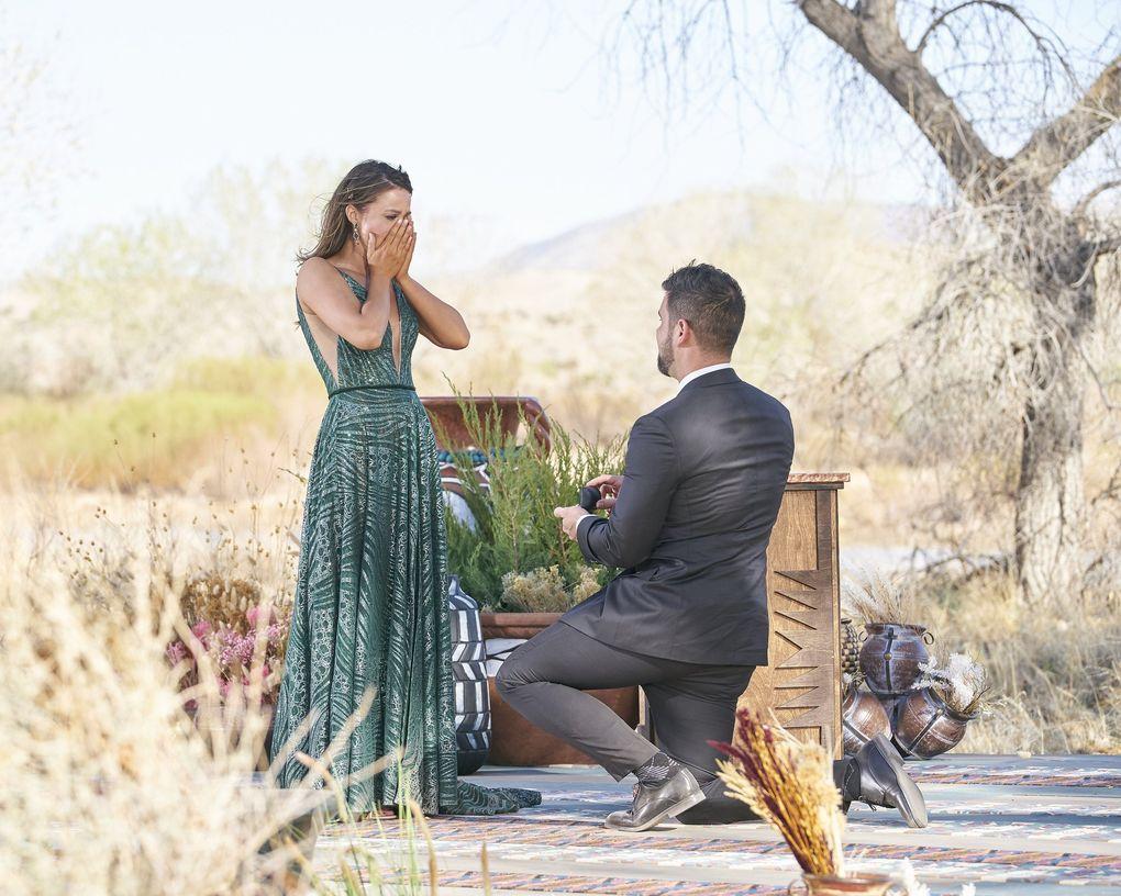 """Blake Moynes proposes to Katie Thurston on Monday night's season finale of """"The Bachelorette."""" (Craig Sjodin / ABC)"""