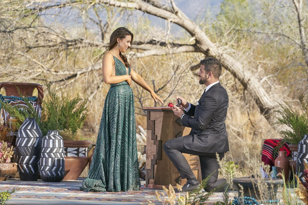 """Blake Moynes proposed to Katie Thurston — and she accepted — on the Aug. 9 season finale of """"The Bachelorette."""" (Craig Sjodin / ABC)"""