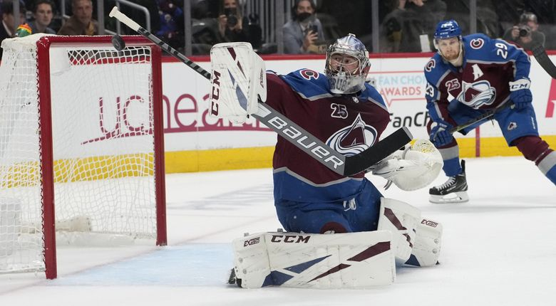 Colorado Avalanche goaltender Philipp Grubauer watches the puck during Game 5 of an NHL Stanley Cup second-round playoff series in Denver, June 8, 2021. Vezina Trophy finalist Grubauer left Colorado for the expansion Seattle Kraken. (David Zalubowski / AP)