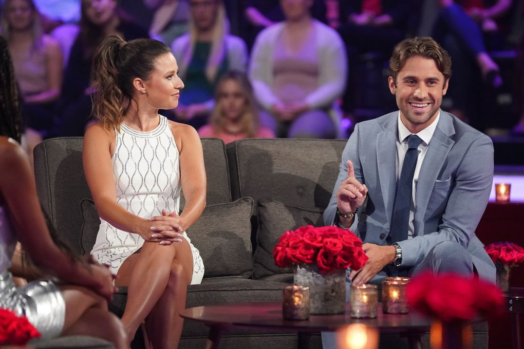 """Katie Thurston and Greg Grippo, who had left the show angrily before the finale, had a super-awkward reunion on """"The Bachelorette: After the Final Rose."""" (Eric McCandless / ABC)"""