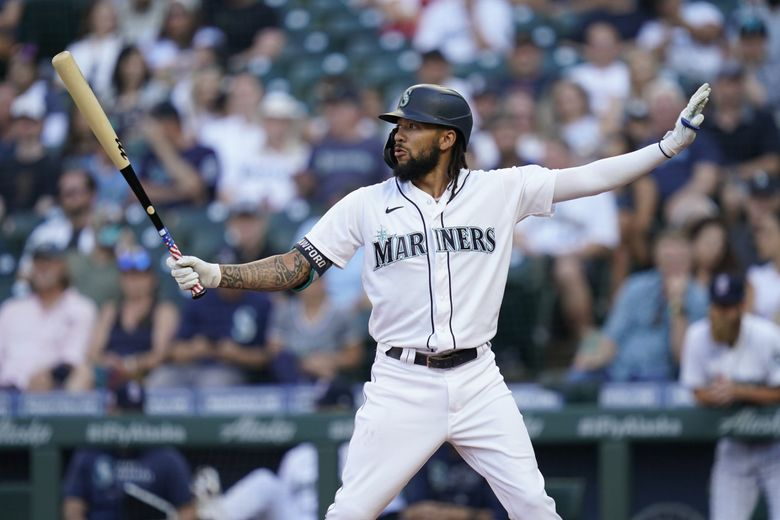 Seattle Mariners' J.P. Crawford in the batters box against the Texas Rangers, July 3, 2021, in Seattle. (Elaine Thompson / AP)