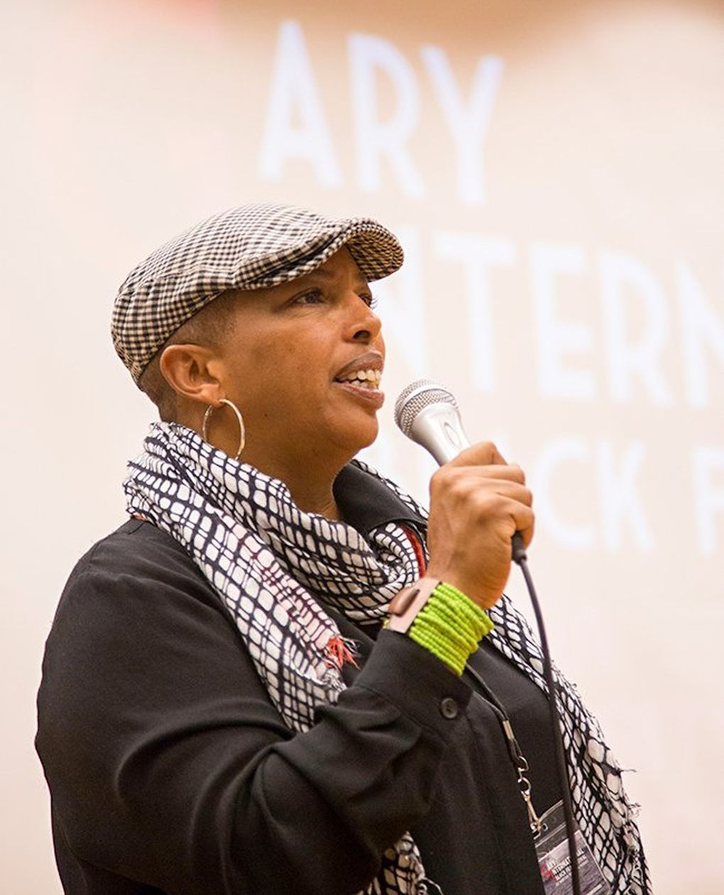 Karen Toering, a founder of the Black Summer Camp film series, which has weekly film showings on Beacon Hill through Oct. 30, speaks at the Gary International Black Film Festival in Illinois in 2015. (Naomi Ishisaka / The Seattle Times)