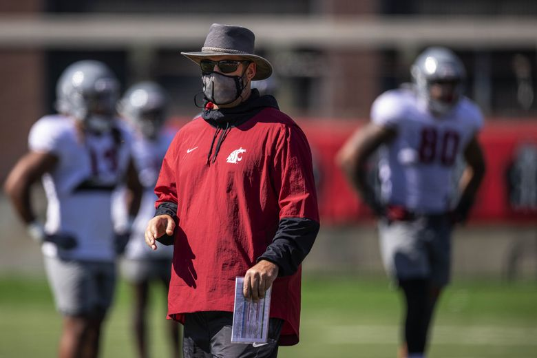 Washington State head coach Nick Rolovich pictured at a WSU football practice on Aug. 11 at Rogers Field on the WSU campus in Pullman, WA. (Dean Rutz / The Seattle Times)