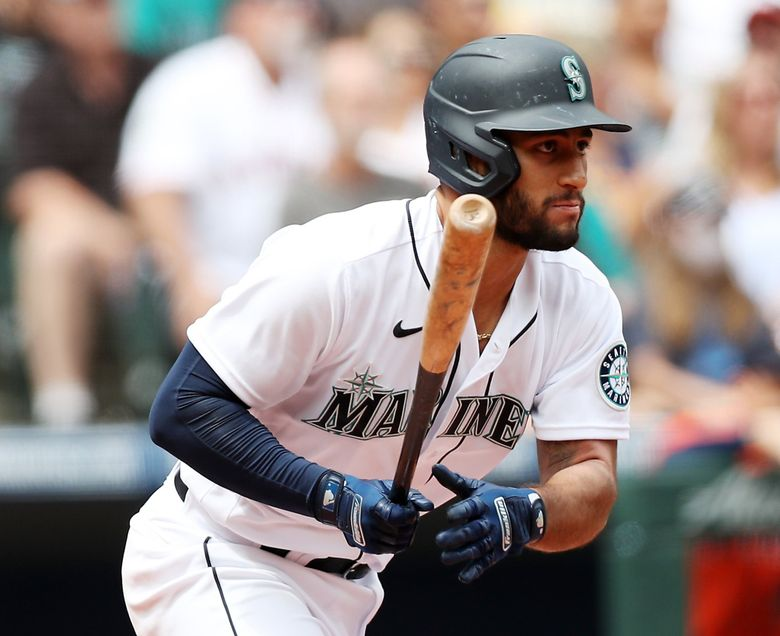Abraham Toro hits a single against the Astros, Wednesday, July 28, 2021 in Seattle. Toro is hitting .364/.444/.618 in 15 games for Seattle with eight extra-base hits and just seven strikeouts in 63 plate appearances. (Ken Lambert / The Seattle Times)