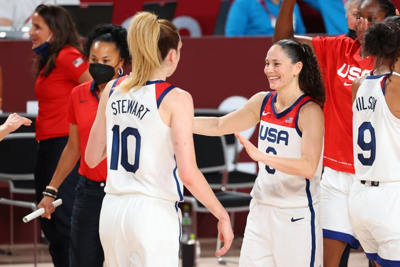 Sue Bird #6 reacts alongside Breanna Stewart #10 of Team United States in the second quarter during the women's gold medal match between Team United States and Team Japan on day sixteen of the Tokyo 2020 Olympic Games at Saitama Super Arena on August 08, 2021 in Saitama, Japan. (Abbie Parr / Getty Images)