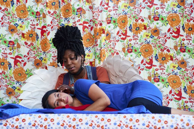 """Yadira Duarte and Porscha Shaw in The Williams Project's production of """"Marisol."""" (Michael B. Maine)"""