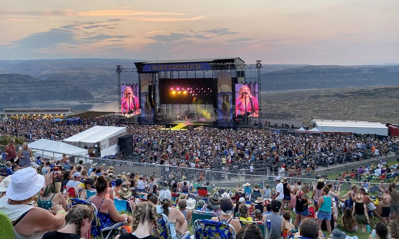 More than 25,000 people attended Watershed Music Festival at the Gorge Amphitheatre in George, Grant County, July 30-Aug. 1. More than 200 COVID-19 cases are now linked to the festival, health officials say. (Michael Rietmulder / The Seattle Times)