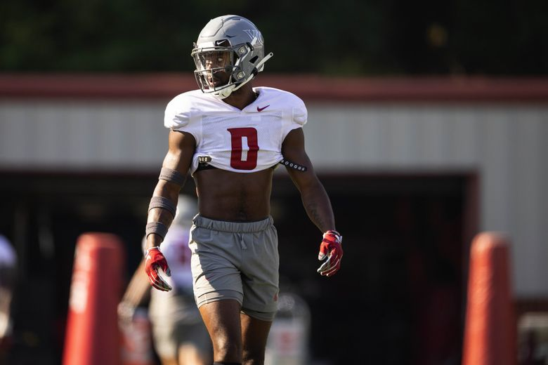Washington State defensive back Jaylen Watson (0) practices Wednesday, Aug. 11, at Rogers Field on the WSU campus in Pullman. (Dean Rutz / The Seattle Times)