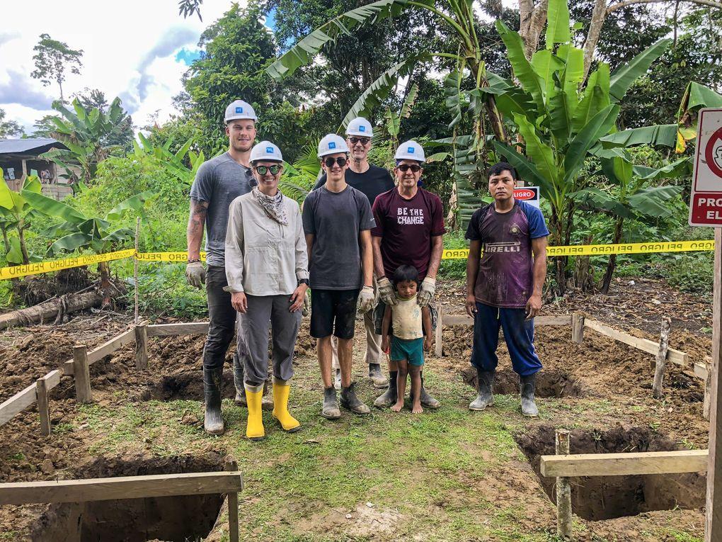 Kraken defenseman Jamie Oleksiak (back left) at work site in a remote Amazon River village in Ecuador in 2018.  (Courtesy Jamie Oleksiak)