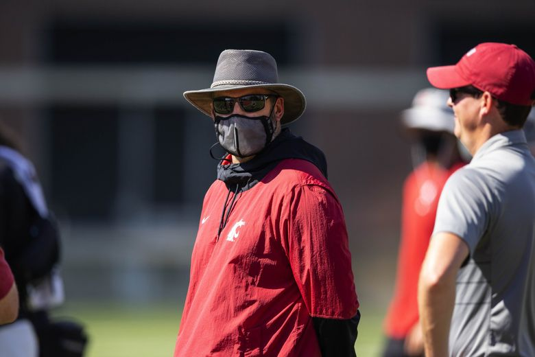 Washington State head football coach Nick Rolovich, Aug. 11, 2021, at Rogers Field on the WSU campus in Pullman, Wash. (Dean Rutz / The Seattle Times)
