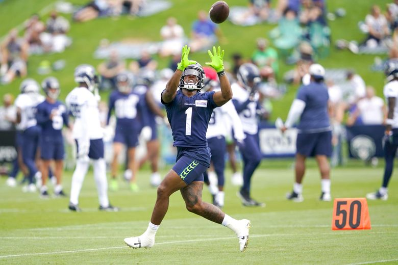 Seattle Seahawks wide receiver Dee Eskridge makes a catch during training practice, Thursday, Aug. 19, 2021, in Renton, Wash. (Ted S. Warren / AP)