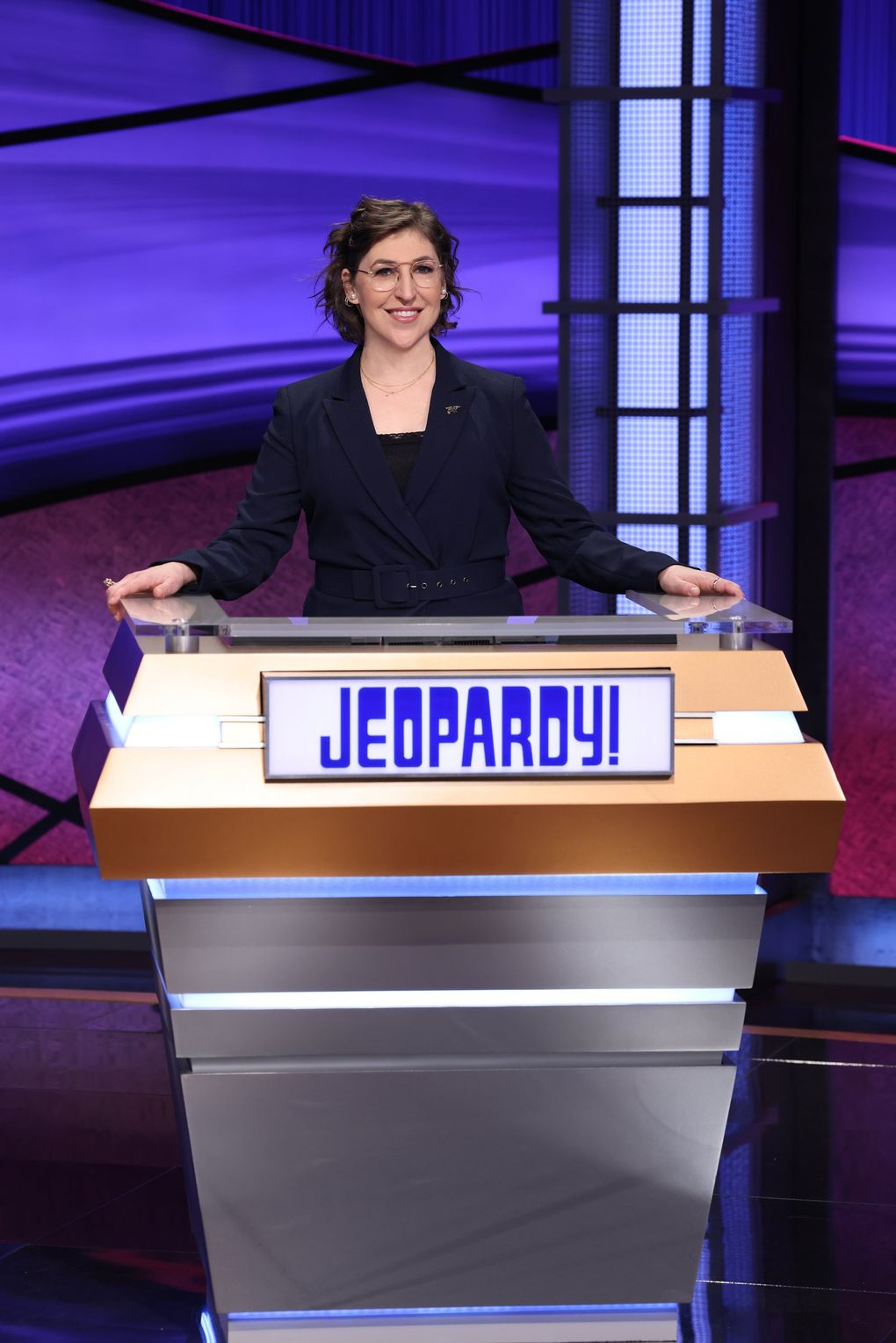 """Mayim Bialik originally got what amounts in the eyes of many fans to a weird consolation prize when Mike Richards was announced as """"Jeopardy!'s"""" main host. Now that he's out of the picture, she should get her shot at the big job. (Courtesy of Jeopardy Productions)"""