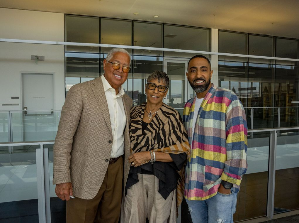 """Los Angeles-based collectors Bernard and Shirley Kinsey, and their son, chief curator Khalil Kinsey, revealed The Kinsey African American Art & History Collection on July 29 at Tacoma Art Museum. On view through Nov. 28, the Tacoma exhibit displays 150 of the Kinseys' 700-piece collection. The collection includes works from artists like Romare Bearden and Augusta Savage, letters from author Zora Neale Hurston, a painting from Jacob Lawrence's """"The Builders"""" collection and more. (Sylvia Jarrus / The Seattle Times)"""