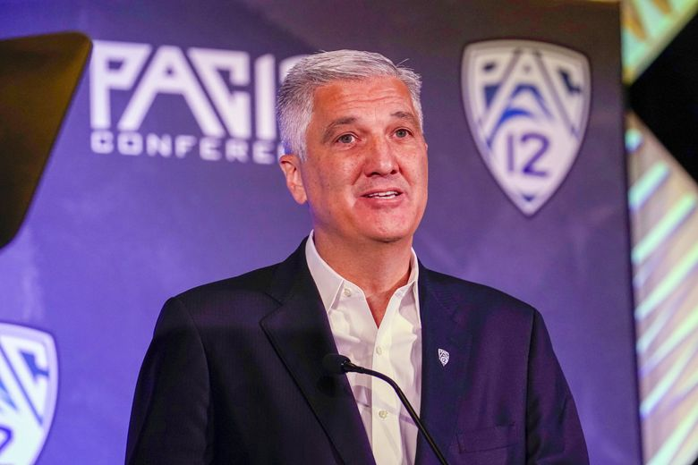 Pac-12 Conference Commissioner George Kliavkoff speaks during the Pac-12 college football Media Day Tuesday, July 27, 2021, in Los Angeles. (Marcio Jose Sanchez / AP)