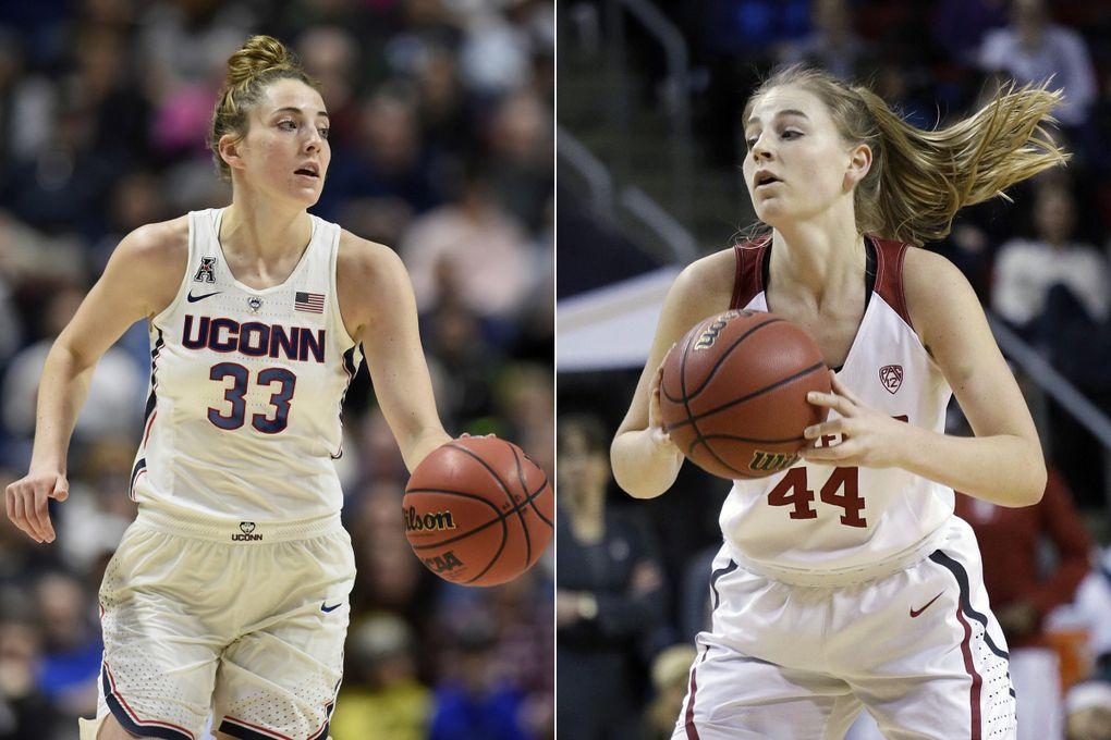 Connecticut's Katie Lou Samuelson, left, during a game for UConn in 2018 and Karlie Samuelson during a game for Stanford in 2017. (AP Photo)