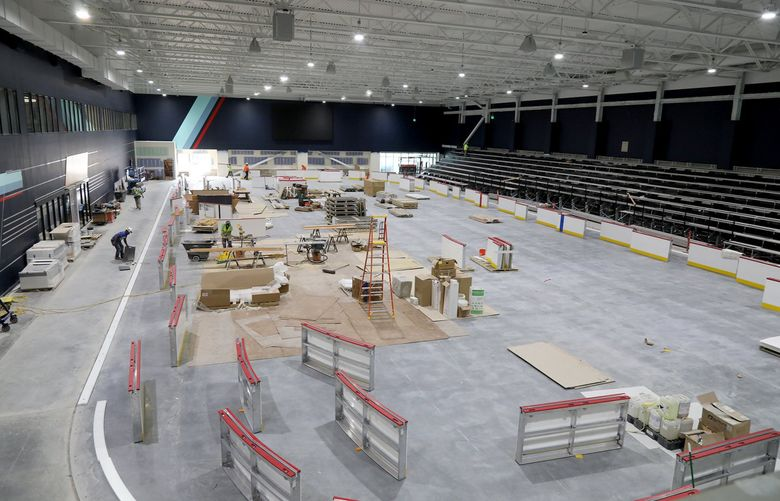 The Kraken's training center at Northgate, June 30, 2021. It will be used by the team as a practice rink during hockey season and when the team is in town. Other times it will be available for public use. (Greg Gilbert / The Seattle Times)