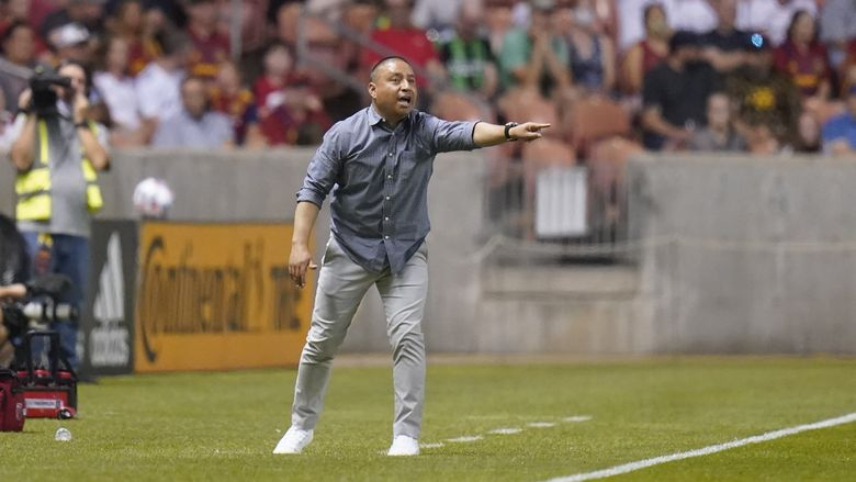 Real Salt Lake coach Freddy Juarez during a match against Austin FC, Aug. 14, 2021, in Sandy, Utah. (Rick Bowmer / AP)