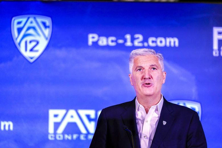 Pac-12 Commissioner George Kliavkoff speaks during the Pac-12 Conference college football media day last month. (Marcio Jose Sanchez / AP)