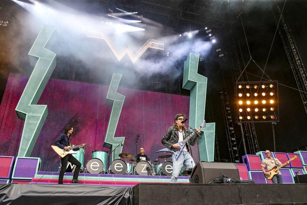 Weezer perform during their Hella Mega Tour stop at Citizens Bank Park in Philadelphia, Aug. 20, 2021. (Steven M. Falk / Philadelphia Inquirer / TNS)