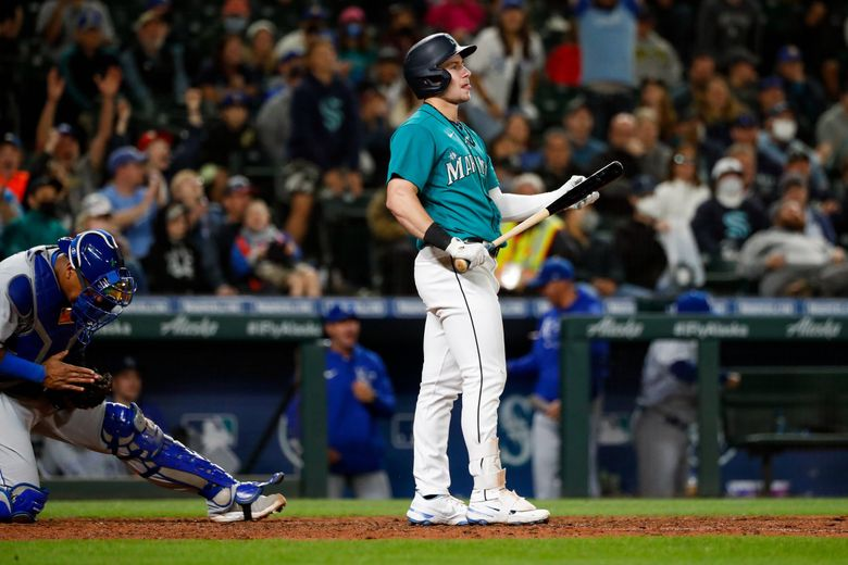 Seattle Mariners' Jarred Kelenic strikes out to end the game in the 12th inning against the Kansas City Royals, Friday, Aug. 27, 2021, in Seattle. The Mariners scored one run in the inning to lose 8-7. (Jennifer Buchanan / The Seattle Times)