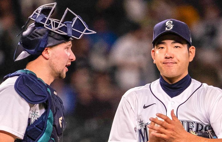 Yusei Kikuchi loads the bases in the 6th, and is pulled by manager Scott Servais. . The Kansas City Royals played the Seattle Mariners Thursday, August 26, 2021 at T-Mobile Park in Seattle, WA. 218044 218044